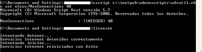 adsutil - aumentar número de conexiones sobre Internet Information Server