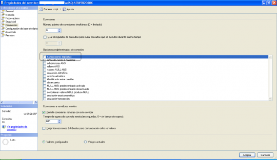 Propiedades de conexión - Microsoft SQL Server Management Studio