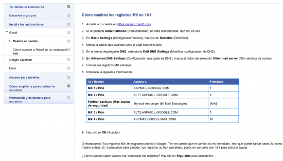 Configuración GMail Google Apps - 1and1