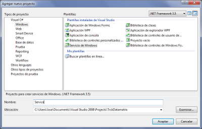 Plantilla Visual Studio de Windows Service