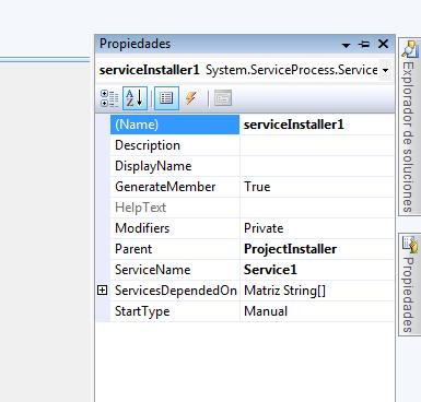 Propiedades instalador Windows Service