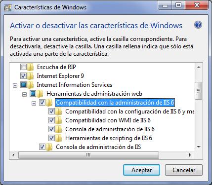 Activar características de Windows - Compatibilidad IIS6